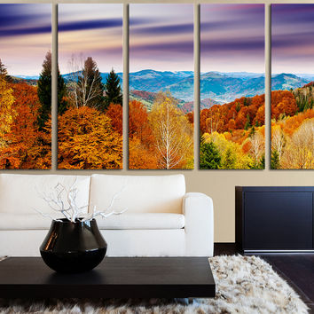Canvas Art Colorful Autumn and Mountains View at Sunset 5 Panel Wall Art Print  Ready to Hang 5 Panels Stretched - MC89