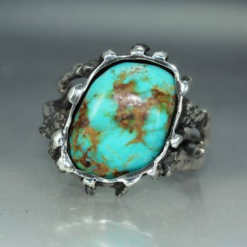 Turquoise Sterling Silver Twig Mans Womans Unique Statement Ring