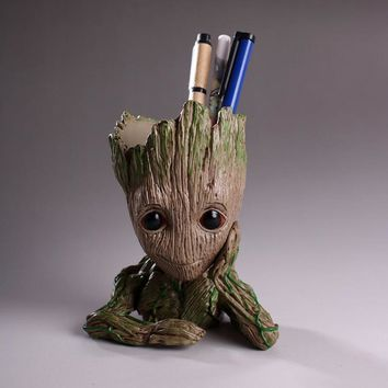 Flower Pot Baby Groot Flowerpot Cute Toy Pen Pot Holder PVC Hero Model Baby Tree Man Garden Flower Plant Pot Dropshipping