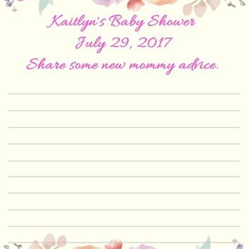 10 Watercolor Floral Baby Shower or Bridal Shower Advice Cards