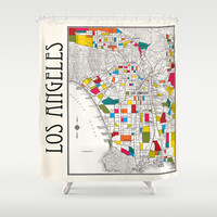 Los Angeles Shower curtain - Street map of LA, fabric curtain, map, streets of LA, historical Hollywood, beach cities, colorful