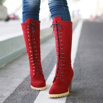 Punk Style Lace up High Heel Boots Red = 1945721796