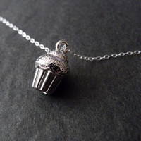 Cupcake Necklace, Sterling Silver, Silver Cupcake Jewelry, Muffin Necklace, Cute, Dessert