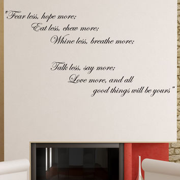 "Vinyl Wall Decal Sticker Inspirational Quote ""Fear Less, Hope More"" #878"