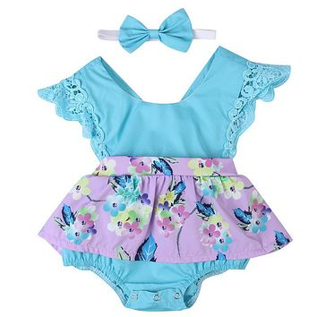 2017 summer sleeveless Romper+hat Baby Girls clothing set Floral printed Bodysuit Baby Girls Clothes Suit