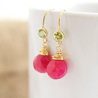 PInk Chalcedony Earrings with Bezel Set Periodots - Bezel Set Earrings