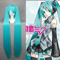 """MapofBeauty 48"""" Straight Cosplay Wig + 2 Clip On Ponytails (Light Blue)"""