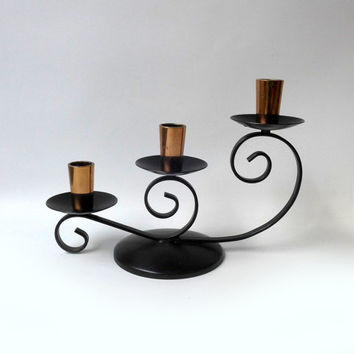 Vintage retro 1960s copper and black enamel candlestick