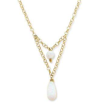 14k Gold Synthetic Opal Drop Necklace