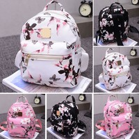 Floral Mini Backpack (Black, White, Pink) - Ladies Floral Backpack Travel Leather Handbag Rucksack Shoulder School Bag