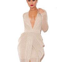 Clothing : Max Dresses : 'Blanca' Nude Shimmer Sheer Chiffon Maxi Dress