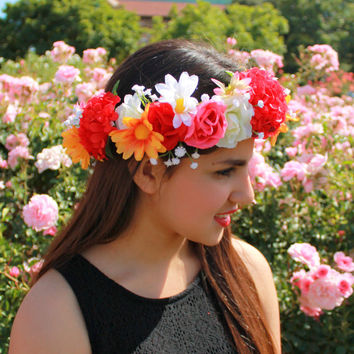 Flower Crowns, Flower Headband, Rose Crowns, Floral Accessories, Coachella Headbands, Flower Girl Crowns, Coachella Festival Accessories