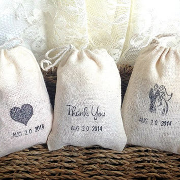 10 personalized muslin favor bags, wedding, birthday, bridal shower, anniversary, baby shower party rutic favor bags