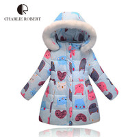New Arrival Girls Winter Down Jacket Children Cartoon Animal Print Coat Baby Girls Hooded Outerwear Winter Jacket For Girls