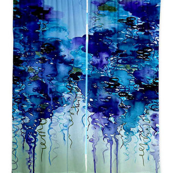 NAVY RAIN Bold Fine Art Window Curtains, Multiple Sizes Abstract Blue Rainy Day Clouds Home Decor Bedroom Kitchen Lined Unlined Woven Fabric