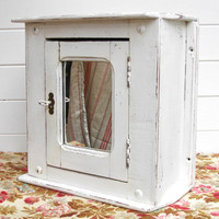 French antique CABINET / Shabby chic little wooden white cupboard