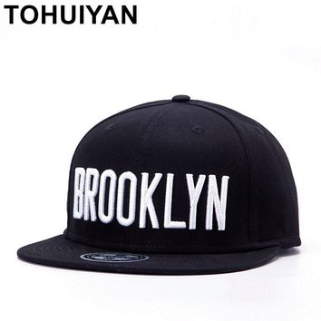 Trendy Winter Jacket TOHUIYAN BROOKLYN Embroidered Cotton Snapback Caps Women Street Dancing Hip Hop Gorras Caps Mens Casual Flat Visor Baseball Hats AT_92_12