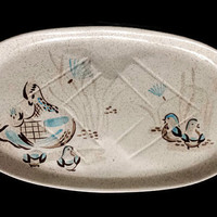 "Red Wing Bob White 19"" Oval Serving Platter Meat Platter Serving Tray Speckled Brown Turquoise Quail"