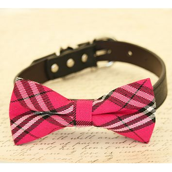 Hot Plaid pink Dog Bow Tie attached to collar, birthday gift, Wedding accessory