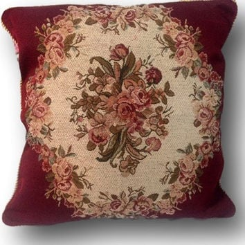 Tache 2 PC Chenille Woven Floral Holiday Red Rose Throw Pillows