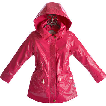 Oil and Water Girls Field Rain Jacket in Berry