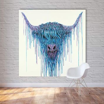 RELIABLI ART Modern Canvas Painting Highland Cow Color Animal Wall Art Poster and Print for Living Room Home Decor Unframed