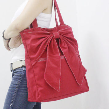 MAY Sale - RED Canvas Women Tote, Shoulder Bag, School Bag, Diapers Bag, Everyday Purse, Handbag - QT