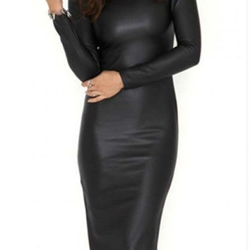 Hot Round Neck Long Sleeve PU/Leather Bodycon Midi Dress