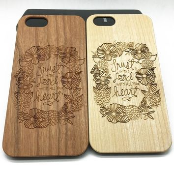 Flowers Quote Lord Wooden Wood Case iPhone 8 X 7 Plus 6 6s 5s Jesus Christ Samsung S8 Plus S7/6/5 Edge