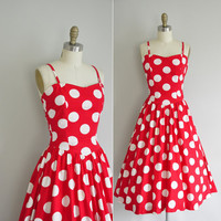 vintage red polka dot cotton dress / 1980s does 1950s dress / vintage polka dot dress