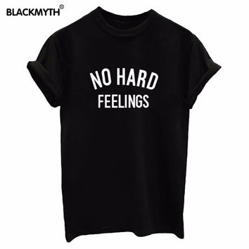 NO HARD FEELINGS Letters Print Women's Slim O neck Tops White Black Plus Size T Shirts Trendy Clothing