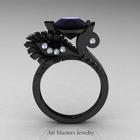 High Fashion Nature Inspired 14K Black Gold 3.0 Ct Black and White Diamond Marquise Eye Engagement Ring R359S-14KBGDBD