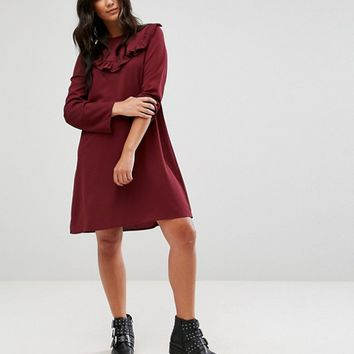 Brave Soul Frill Swing Dress at asos.com