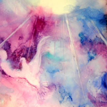 Christian Art Print, Holy Spirit Painting, Alcohol Ink Print, Pink Celestial Art, Abstract Painting, Expressionist Art, Holy Spirit Dove Art