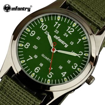 INFANTRY Quartz Watches Mens Luminous WristWatches Green Nylon Fabric Strap Military Aviator Sports Watches Relogio Masculino