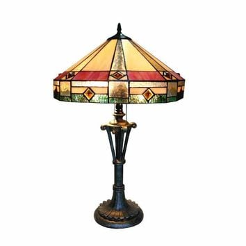 "Ridley, Tiffany-Style 2 Light Mission Table Lamp 18"" Shade"