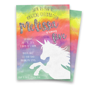 Rainbow Unicorn Invitation - Unicorn Birthday Party Invitation - Girl Unicorn Birthday - Watercolor Rainbow Magical Birthday Silver Glitter