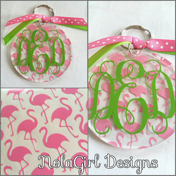Acrylic Flamingo accented keychain, Preppy, Southern, Round acrylic keychain, Vinyl decorated, ladies gift, Teen gift, Party favor, bridal