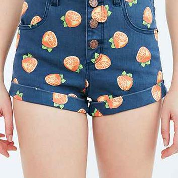 BDG Pinup Rolled Hem High-Rise Short - Navy Oranges - Urban Outfitters