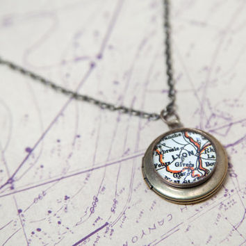 Vintage Map Locket - You Choose The Location - Petit Antiqued Brass - Shipped FedEx