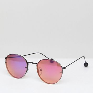 ASOS 90s Metal Round Sunglasses with Laid on Lens And Ball Arm Detail at asos.com