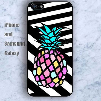 Black and white pineapple iPhone 5/5S case Ipod Silicone plastic Phone cover Waterproof