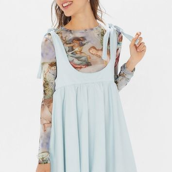 BDG Ayla Denim Tie-Shoulder Skirtall | Urban Outfitters