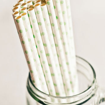 Paper Straws in White & Green Polka Dots - Set of 25 - Pastel Cute Mint Unique Pretty Wedding Birthday Party Baby Shower Accessories Decor