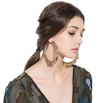 Celebrity Style Vintage Gold Plated Large Bamboo Hoop Earrings