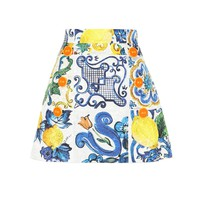 Printed cotton and silk miniskirt
