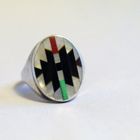 Vintage Estate Signed Zuni Sterling Silver Mother of pearl Jet Turquoise Coral Mens Ring Sz 13 Free Shipping USA