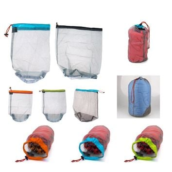 1 pc Laundry Outdoor Bag Ultralight Mesh Stuff Sack Camping Sports Drawstring Storage Bag Hiking Tools Climbing Drawstring bolsa