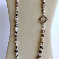 Necklace, Wild Horse Jasper, Pale Pink Quartz and Sterling Silver Clasp, Statteam
