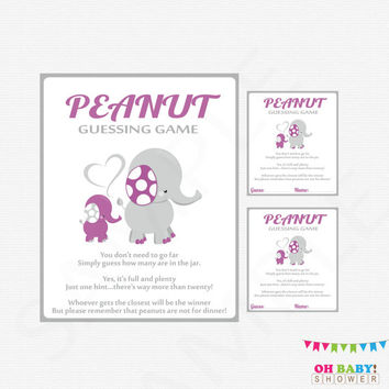 Purple Elephant Baby Shower, Guess How Many, Peanut Guessing Game, Purple Gray, Baby Shower Games, Printable Sign, Instant Download, ELPG